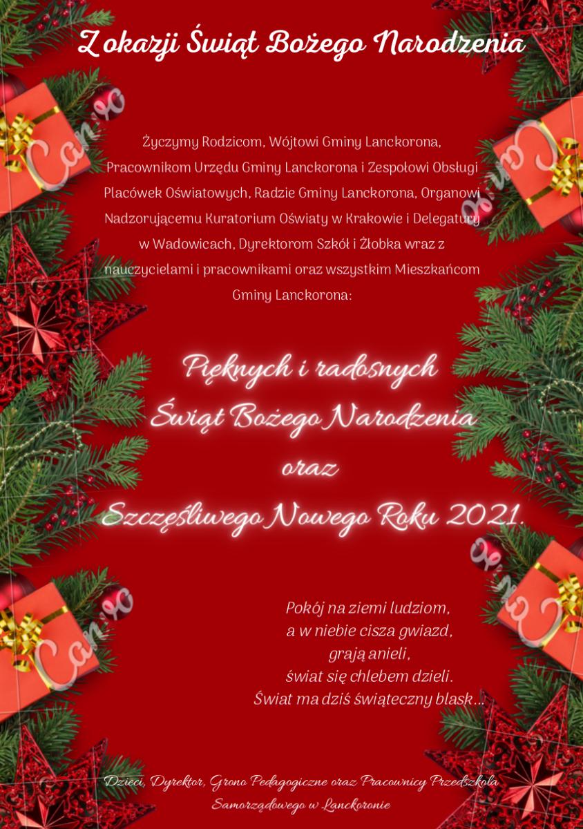 Plakat przedstawia życzenia od Dzieci,  Dyrekcji oraz Pracowników Przedszkola z okazji Świąt Bożego Narodzenia